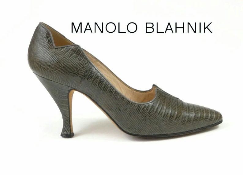 570a7c53987 Manolo Blahnik Ash Grey Lizard Leather High Heel Shoes
