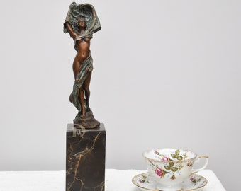 Bronze Sculpture On Marble Base Shows Scarf Dancer, Women Nude, Signed  Statue, Antique Home Decor