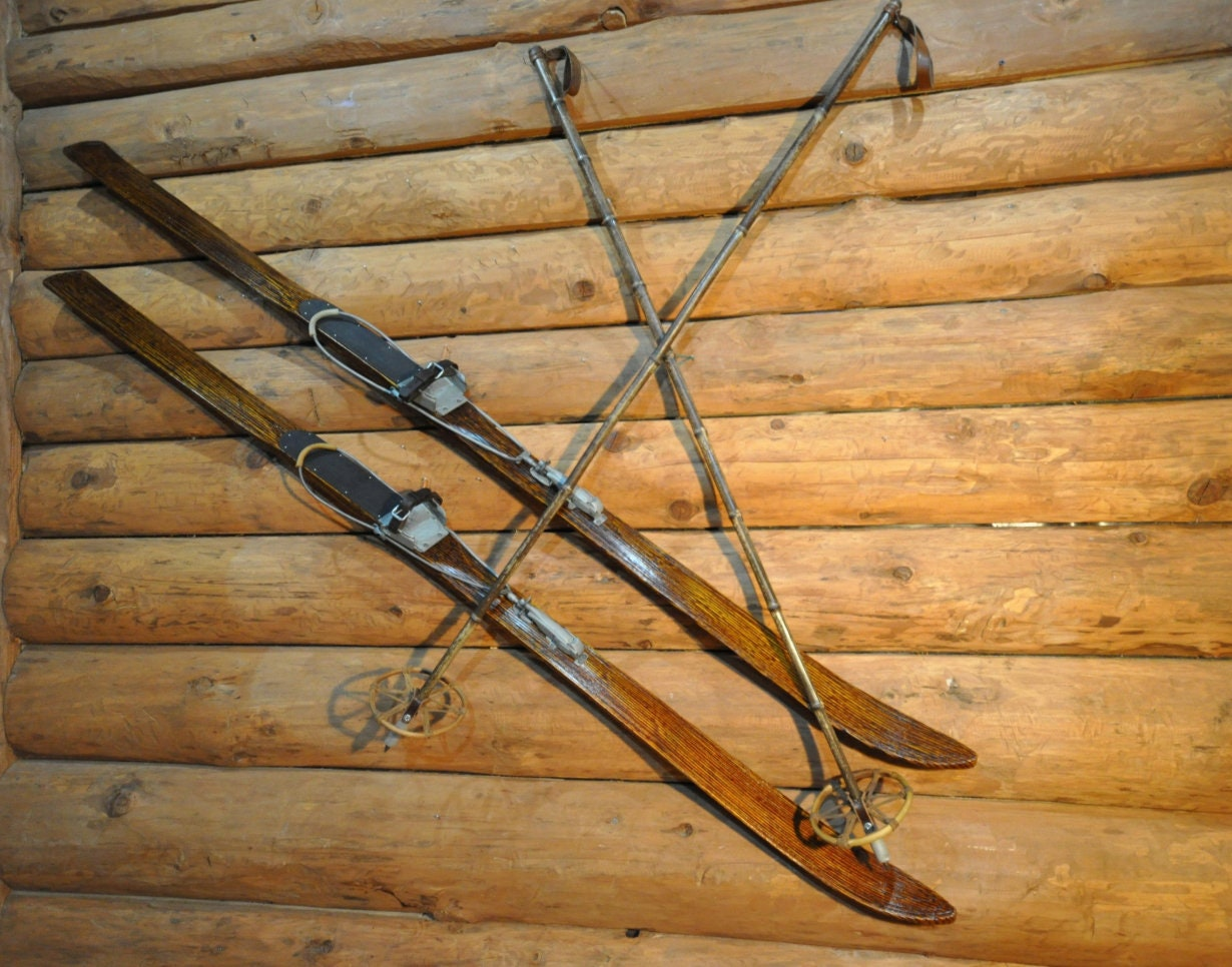 Wooden Skis Signed Vintage Skis Antique Skis Set Mountain