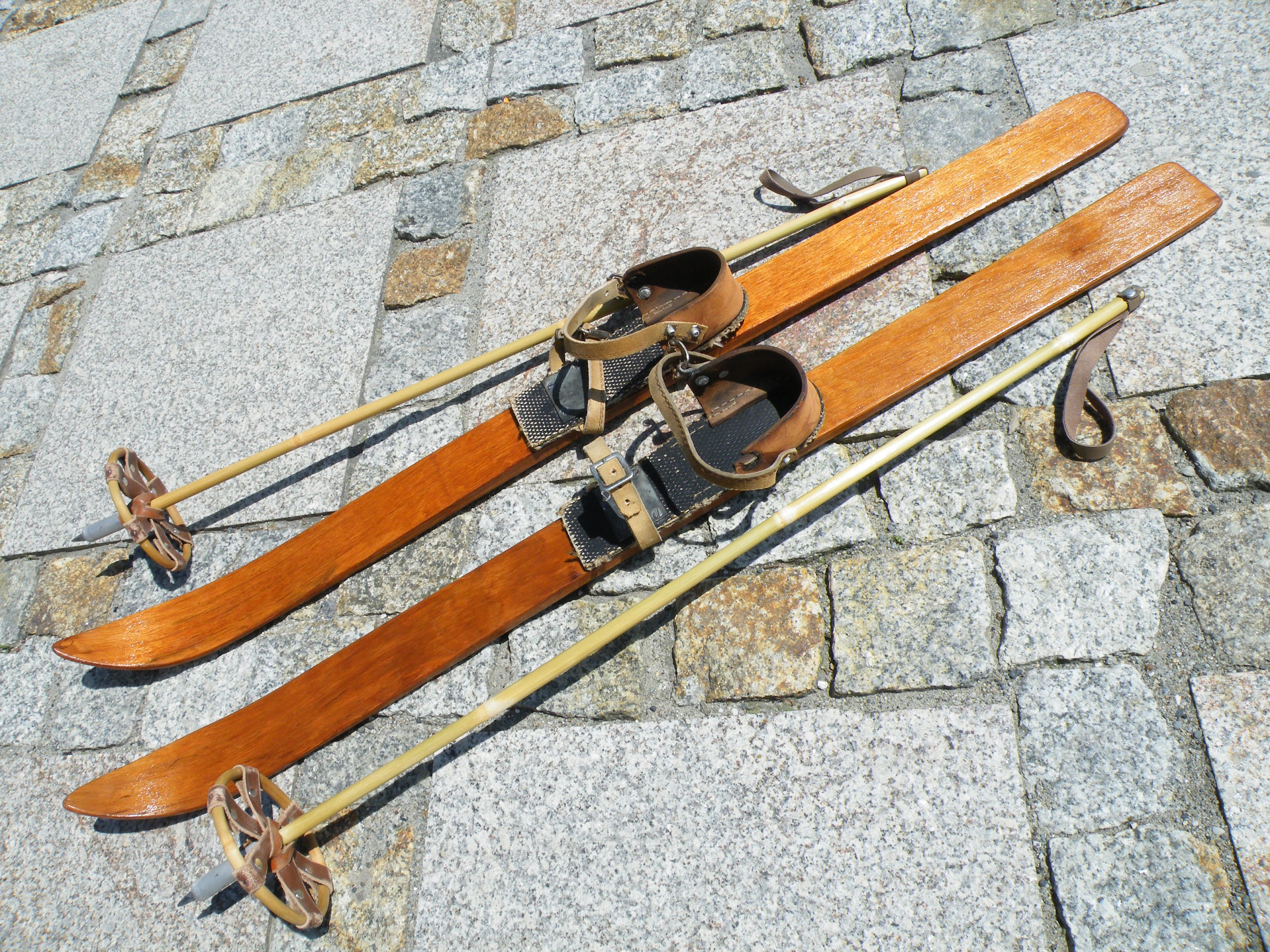 Children Wooden Skis With Poles Signed Vintage Skis Antique Skis