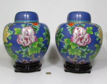 Pair of Chinese Cloisonné Ginger Jar