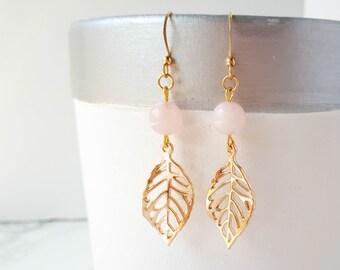 Gold Leaf Earrings, Rose Quartz Earrings, Plant Earrings, Gold Filigree Earrings, Blush Pink Earrings, Botanical Jewelry, Nature Lover Gift