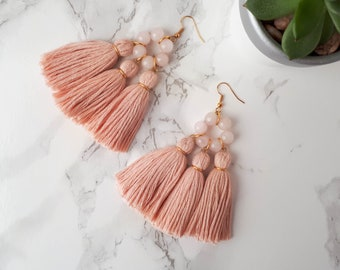 Pink Tassel Earrings, Blush Pink Earrings, Rose Quartz Earrings, Bohemian Bride Earrings, Hippie Statement Earrings, Large Boho Earrings
