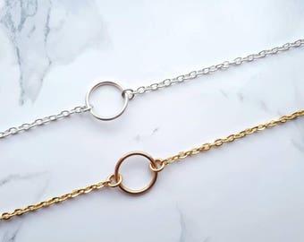 Karma Bracelet, Circle Bracelet, Everyday Bracelet, Simple Bracelets for Women, Dainty Gold Silver Bracelet, Minimalist Bracelet, Eternity