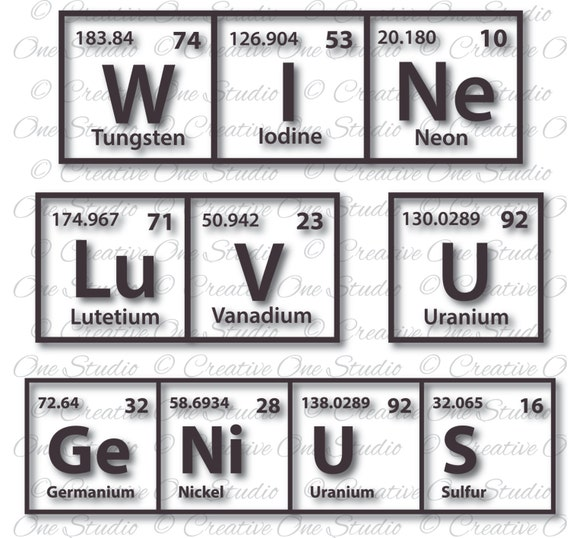 Collection Genius Luv U Wine Periodic Table Elements Svg Etsy