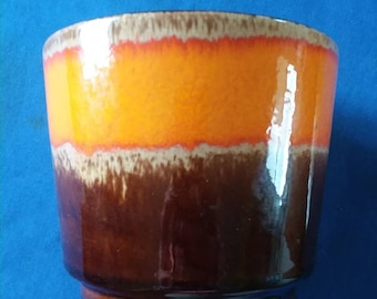 Vintage Orange and Brown Planter, Made in West Germany
