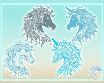 Unicorn mandala dxf | Etsy