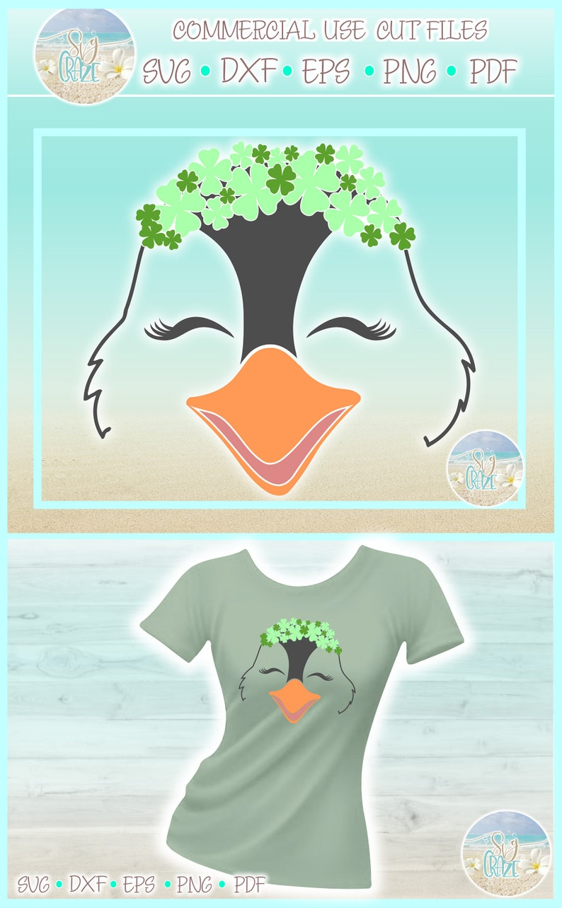 Dxf Eps Pdf Png Included Penguin Face With Clovers St Patricks Day SVG Files for Cricut Silhouette