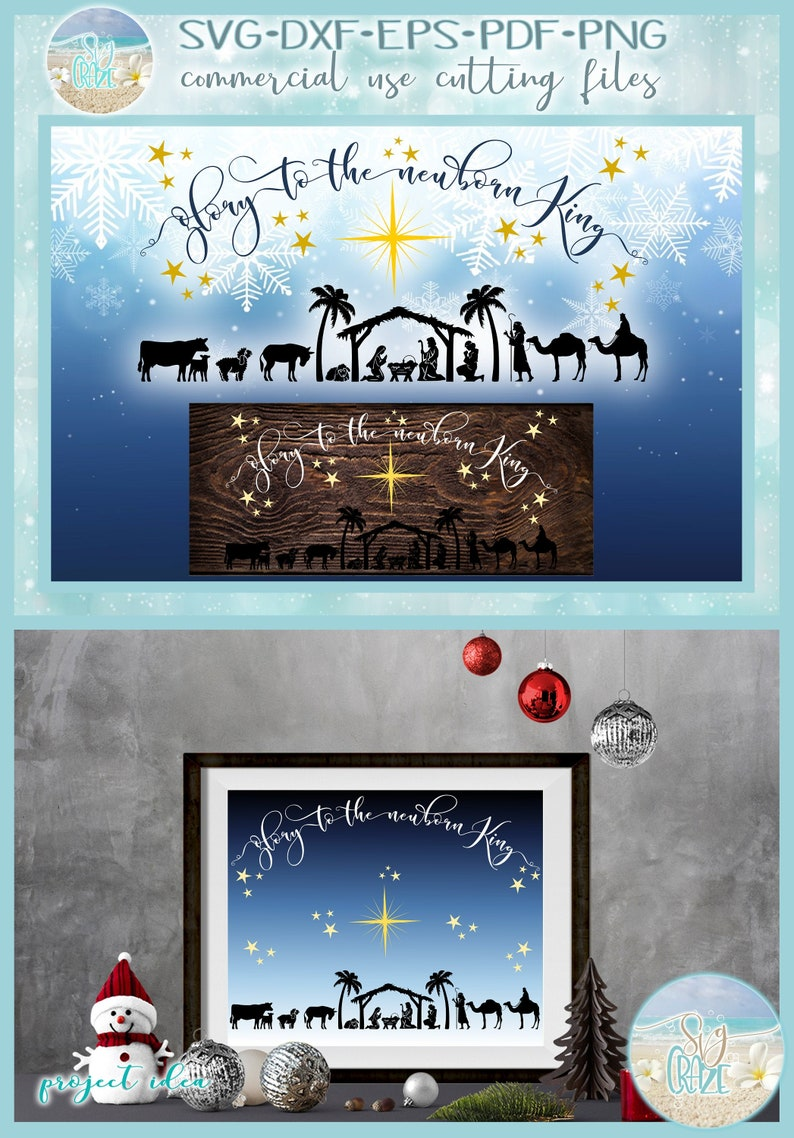 Glory To The Newborn King Christmas Svg Files For Cricut Etsy