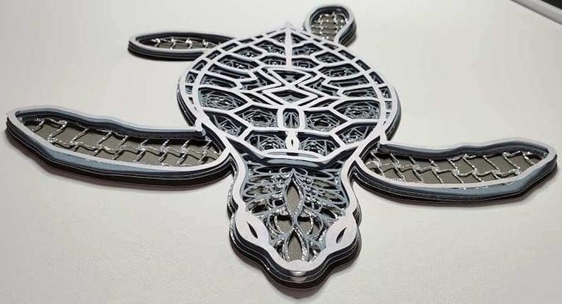 Download 3D Layered Design Sea Turtle Mandala SVG file Multi | Etsy