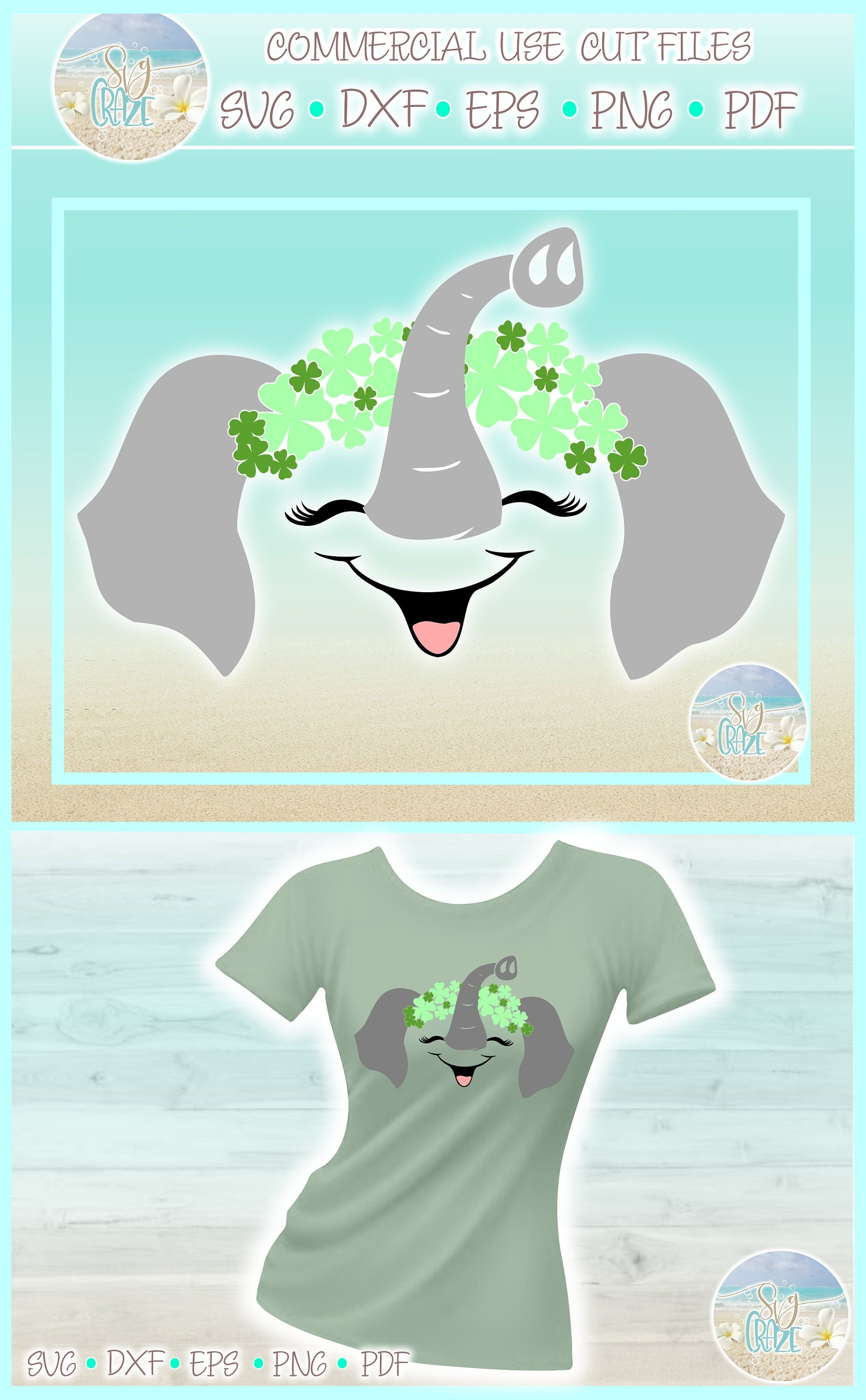 21fac41aab80f8 Elephant with Clovers St Patricks Day SVG Dxf Eps Png PDF