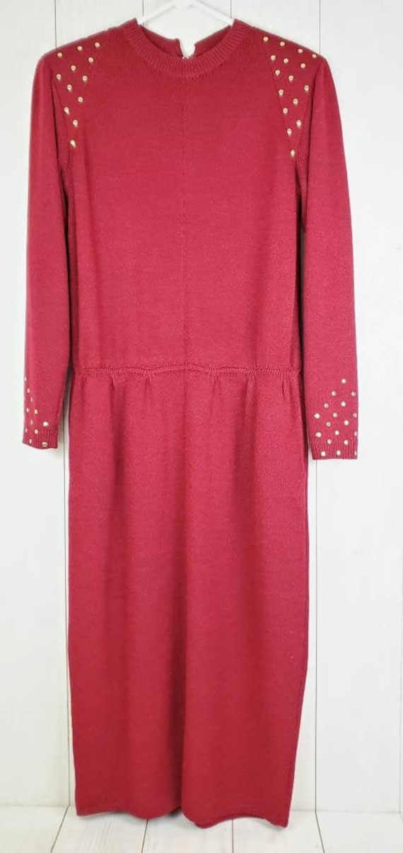 St. John by Marie Gray Sweater Dress, Vintage Red