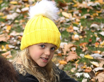0b6c9a6bdb31c6 Yellow ribbed beanie with White removable faux fur pompom (kids beanie,  toddler beanie, kids hat, girls hat, boys hat, ribbed beanie)