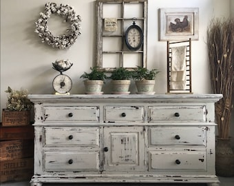 Large Farmhouse 9 Drawer Dresser Or Buffet Made By Broyhill ~ Chippy White  Distressed Furniture