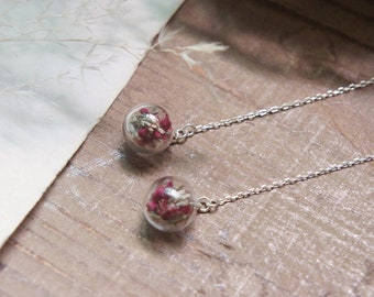 Silver 925 Dried Flower Threader Earring