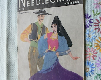 Needlewoman and Needlecraft magazine No 37, printed in 1949, iconic sewing, knitting and crafting magazine, with unused embroidery transfer