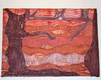 Countryside Textile Art Mixed Media Trees Hand Dyed