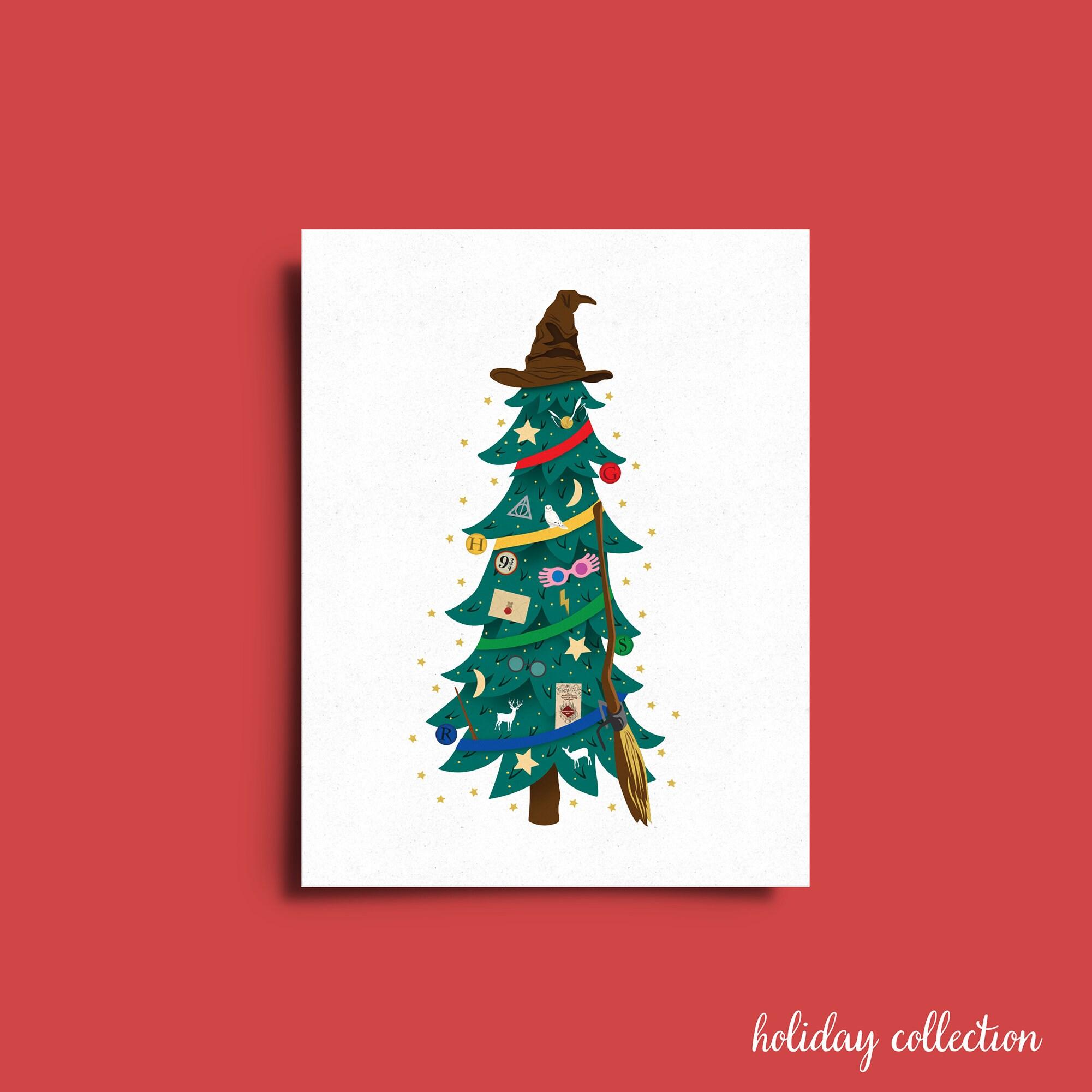 Harry Potter Christmas Tree Greeting Card | Etsy