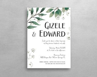 Printable DIY Wedding Invitation & RSVP / Nature Love / Customizable