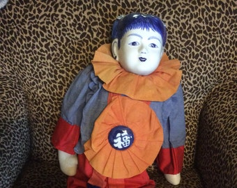 Large Oriental Asian China Head Cloth Body Doll Original Clothing 27""