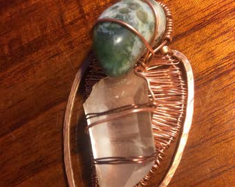 Wire Leaf Pendant with Moss Agate and Quartz Crystal