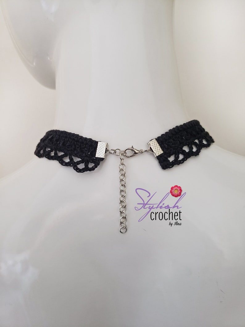 Black crochet choker necklace with a butterfly charm Handmade Lace Necklace Perfect as  Easter or Mother/'s Day gift for Her.