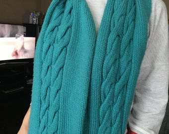 Handmade Long Green Knit Scarf