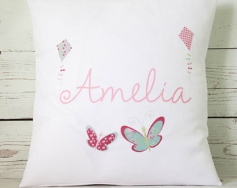 """Personalised Butterfly script name ~ 16"""" white cushion/pillow cover vintage shabby chic nursery girl"""
