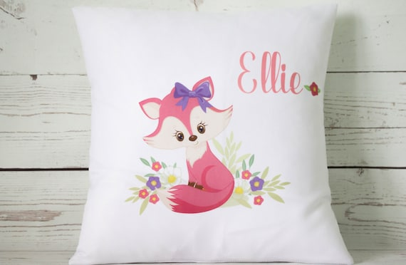 """Personalised pink feather girl 16/"""" white cushion cover Shabby Chic Nursery"""