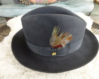 f3528aac Vintage Chocolate Brown Stetson Sovereign Fedora Hat 7 1/2