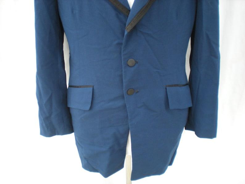 Vintage Midnight Blue Men/'s Three Button Bradleigh Tuxedo Velvet Lounge Evening Jacket Coat Medium M Please Read Spark Joy