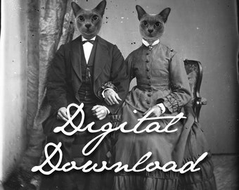 Digital Cat Couple Art Print, Antique Photograph, Cats in Clothes, Victorian Cats, Anthropomorphic Antique Photography (#1046)