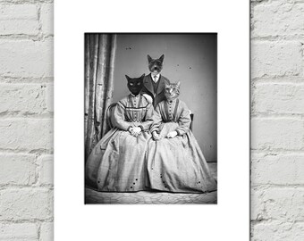 Cat Family Art Print, Antique Photograph, Cats in Clothes, Victorian Cat Artwork, Anthropomorphic Cat, Antique Photography Art (#1038)