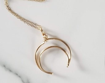 Moon Ring Holder Necklace, 14k Gold Filled Engagement Ring Holder, Valentine's Day Gift For Her, Newlyweds, Moon Lovers, Half Moon Jewelry