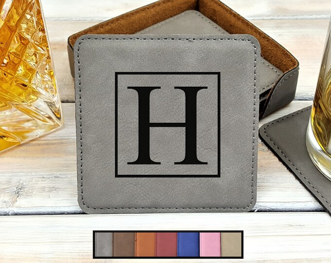 Leatherette Coasters | Monogrammed | Personalized | Housewarming | Wedding | Gift | Bar | Beer | Whiskey | Coffee | Set Of 6