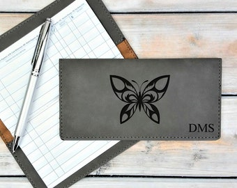 Personalized Leatherette Checkbook Cover | Butterfly | Wings | Change | Transformation | Monogrammed | Laser Engraved | Personalized Gift