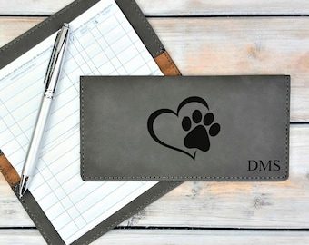 Personalized Leatherette Checkbook Cover | Dog Lover | Dog Paw Print | Heart | Monogrammed | Laser Engraved | Personalized Gift