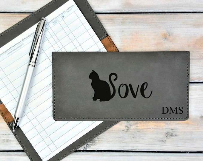 Personalized Leatherette Checkbook Cover | Cat Lover | Love | Animal Love | Feline | Monogrammed | Laser Engraved | Personalized Gift