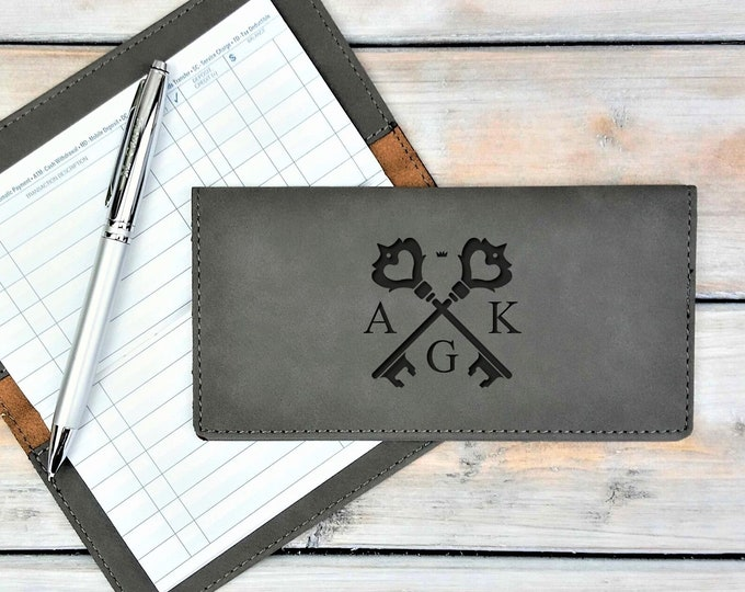 Personalized Leatherette Checkbook Cover | Initials | Monogrammed | Laser Engraved | Personalized Gift | Crossed Keys | Mothers Day Gift