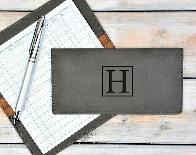 Personalized Leatherette Checkbook Cover | Initials | Monogrammed | Laser Engraved | Personalized Gift | Mothers Day Gift