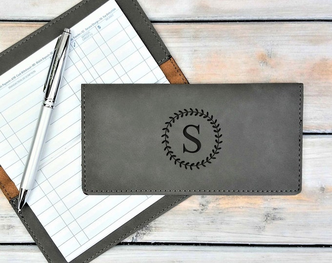 Personalized Leatherette Checkbook Cover | Wreath | Monogrammed | Laser Engraved | Personalized Gift | Mothers Day Gift