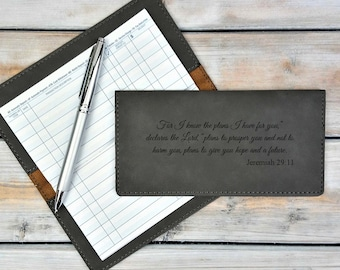 Personalized Leatherette Checkbook Cover | Bible Verse | Jeremiah 29:11 | For I know The Plans I have | Laser Engraved | Personalized Gift
