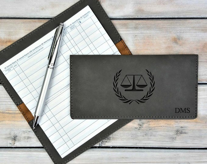 Personalized Leatherette Checkbook Cover | Scale Of justice | Lawyer| Monogrammed | Laser Engraved | Personalized Gift
