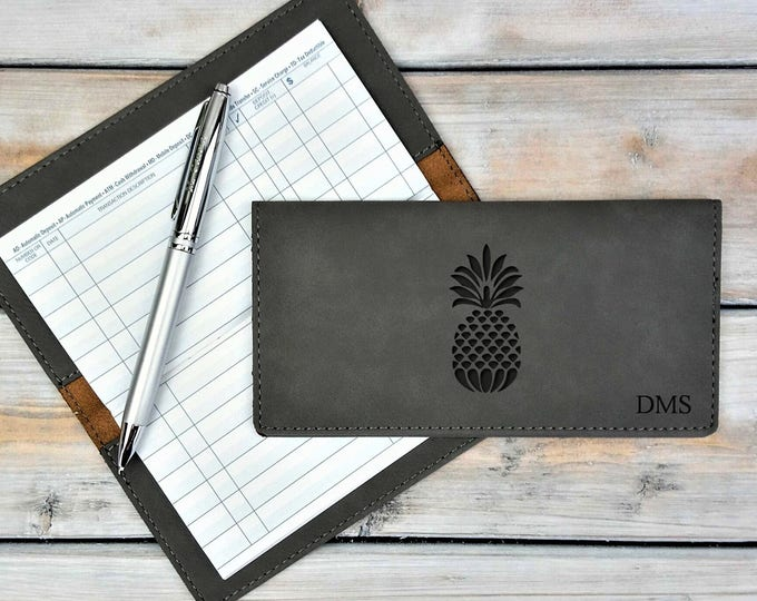 Personalized Leatherette Checkbook Cover | Pineapple | Friendship | Monogrammed | Laser Engraved | Personalized Gift