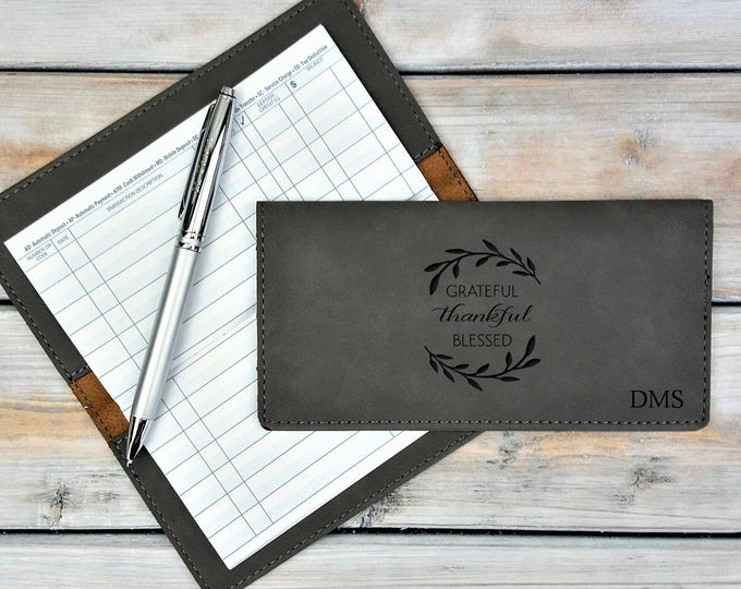 Personalized Leatherette Checkbook Cover | Grateful Thankful Blessed | Monogrammed | Laser Engraved | Personalized Gift | Mothers Day Gift