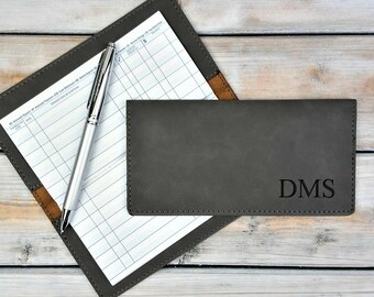 Personalized Leatherette Checkbook Cover | Name Initials | Monogrammed | Laser Engraved | Personalized Gift | Mothers day | Fathers Day