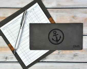 Personalized Leatherette Checkbook Cover | Nautical | Anchor | Sea | Monogrammed | Laser Engraved | Personalized Gift | Mothers Day Gift