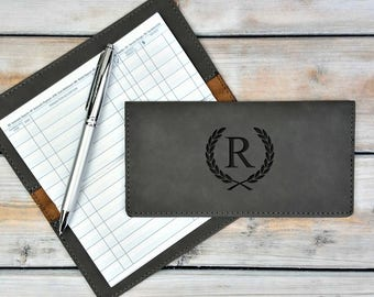 Personalized Leatherette Checkbook Cover | Name Initial Logo | Monogrammed | Laser Engraved | Personalized Gift | Mothers day | Fathers Day
