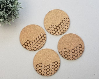 Round Geometric Coasters | Modern Coasters | Housewarming Gift | Newlywed | Honeycomb Coasters | Wine Drinking Coasters