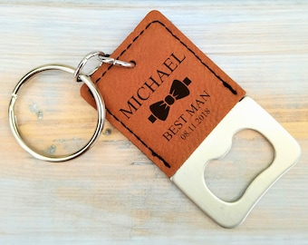 Personalized Keychain Bottle Opener | Groomsmen | Best Man | Wedding | Bridesmaid Gift | Beer | Dad | Bow Tie | Father's day Gift